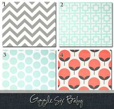 This set includes. Crib Skirt Rail Guard Patchwork Blanket This listing is completely customizable. If you dont love all the fabrics Coral Baby Bedding, Crib Bedding, Whimsical Nursery, Rail Guard, Patchwork Blanket, Crib Skirts, Grey Chevron, Cribs, Mint
