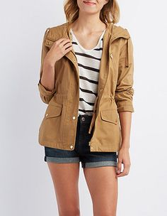 Hooded Utility Anorak: Charlotte Russe