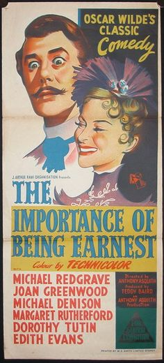 """""""The Importance of Being Earnest"""" Michael Redgrave, Joan Greenwood, Margaret Rutherford Iconic Movie Posters, Cinema Posters, Iconic Movies, Film Posters, Classic Comedies, Classic Movies, See Movie, Film Movie, Irish Movies"""
