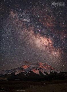 Lunar Alpenglow And Milky Way Skies At West Spanish Peak, Colorado