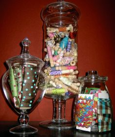 Craft Room Idea: Glass jars filled with craft items - this is also a good opportunity to showcase colors and texture. MV