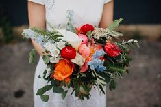 Classy Butterfly Inspired Wedding at the Industrial Strongwater Columbus (Junebug Weddings) Calla Lily Flowers, Ranunculus Flowers, Peonies Bouquet, Peony, Delphinium Bouquet, Orange Centerpieces, Eucalyptus Bouquet, Spring Wedding Inspiration, Ceremony Backdrop
