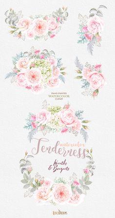 Flowers Watercolor Wreath & Bouquets Roses Hydrangeas