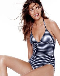 J.Crew women's V-halter one-piece gingham seersucker swimsuit in navy/ivory. To preorder call 800 261 7422 or email verypersonalstylist@jcrew.com. Lace Swimsuit, Costume, Fashion 101, Seersucker, Women Swimsuits, Dress To Impress, Stylish Outfits, Gingham, J Crew