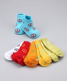 Take a look at this Bright Peace Sign Socks Set by Trumpette on #zulily today!