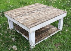 White Shabby Farmhouse Reclaimed Wood Coffee Table With Shelf - Square Coffee…