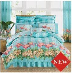 Tropical Flamingos Queen Comforter Set (4 Piece Bedding)