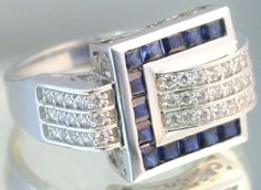 14k White Gold 0.65ct Sapphire & Cubic Zirconia Cocktail Ring sz 7 B26. #Unbranded #Cocktail