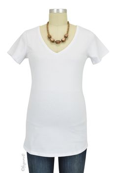 Must- Have Short Sleeve V-Neck Maternity Tee in White. Please use coupon code NewProducts to receive 15% off these items. To receive the discount, please place your order by midnight Monday, May 9, 2016