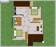 Simple two-bedroom bungalow design - Pinoy House Plans Little House Plans, Small Modern House Plans, Modern Bungalow House, Bungalow House Plans, Modern Houses, Simple House Design, Modern House Design, Modern Tropical House, One Storey House