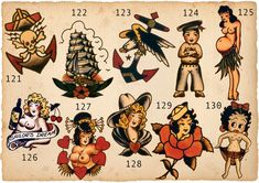 Sailor Jerry Tattoo Art 14 x 11 Photo Sailor Jerry Tattoo Flash, Sailor Jerry Tattoos, Traditional Tattoo Old School, Traditional Tattoo Flash, Tattoo Flash Sheet, Tattoo Flash Art, Vintage Tattoo Art, Desenhos Old School, Heart Tattoos With Names