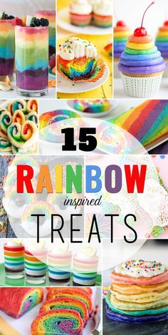 Celebrate spring with some fun and colorful rainbow food recipes kids of all ages will love! Whether it's sweet frosted cupcakes or a fresh fruit smoothie, there are plenty of rainbow recipes to be found! CLICK FOR 15 Rainbow Inspired Treats Recipes
