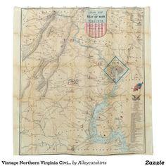 Vintage Northern Virginia Civil War Map (1862) Shower Curtain