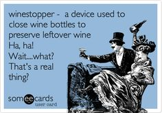 winestopper - a device used to close wine bottles to preserve leftover wine Ha, ha! Wait....what? That's a real thing?