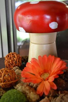 Woodland Fairy | CatchMyParty.com- awesome mushroom, wooden salad bowl painted red over two flower pots stacked