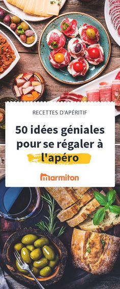 50 recettes faciles, rapides et délicieuses pour un apéro réussi ! Tapenades, dips, feuilletés, bruschetta et autres délices n'attendent plus que vous. #marmiton #apéro #apéritif #recettefacile #bruschetta #fromage #charcuterie #jambon #saucisson #olive #verrine #tapas