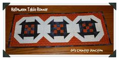 """Friday Finish: Halloween Table Runner with FREE Pattern by Jo Start with one 4"""" square of an orange print.  I used Essential Dots in Orange. You'll also need four 1.5"""" squares in black solid.  I used Bella Black. Finished Block Size: 9"""" Finished Table Runner Size: Layout: 3 blocks needed"""