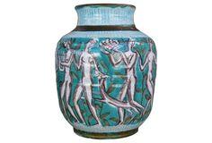 1910-1950 French Deco  Edouard Cazaux Ceramic Vase