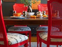 Reclaim dated dining chairs for far less than buying new, using spray paint, modern fabric and a handful of tea bags