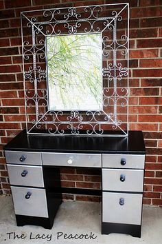 NEW PRICE Vintage Black and Silver Vanity Desk by TheLacyPeacock, $125.00