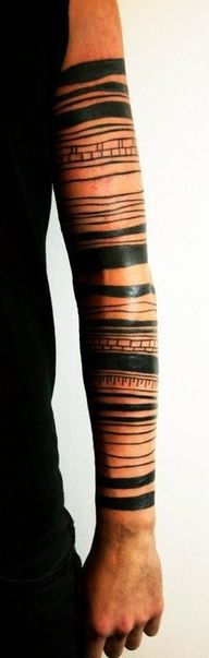 Black line arm tattoo