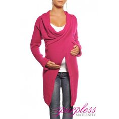 Maternity Cardigan 9001 Dark Pink Look stunning and feel good in this fabulous warm maternity cardigan. Designed for mums-to-be to keep their bump warm during cold winter days. Two button fastenning, you can wear it with long sleeves or 3/4 sleeves. Ideal for going out, casual and smart occasions. Stylish and modern design.