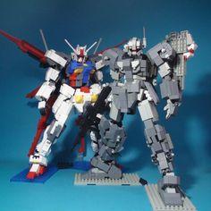 HGM-96X Jesta, Jesta Cannon & Aile Strike Gundam: Made By DIA Block [LEGO-style].