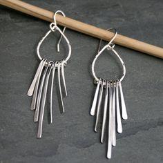 Falling Rain Sterling Silver Earrings, Solid Silver Dangle Earrings, Teardrop