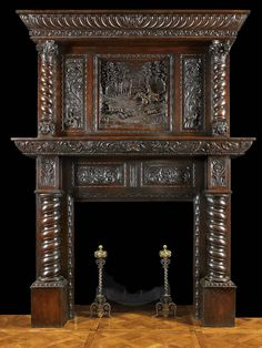 gothic antique fireplace mantels with mirrors | Antique Jacobean carved oak fireplace with over mantel