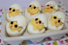 Easter brunch ideas.  Deviled chicks.