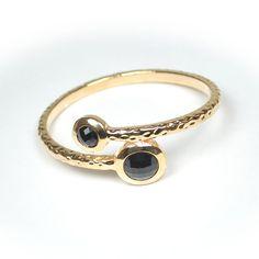 Single gold bracelet with black rhinestone $10
