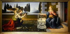 This is a painting of the Biblical subject of theAnnunciation, by the ItalianRenaissanceartistsLeonardo da VinciandAndrea del Verrocchio, dating from circa 1472–1475 and housed in theUffizigallery ofFlorence,Italy.