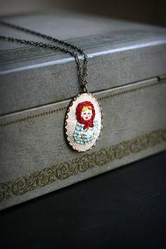 matryoshka embroidered necklace