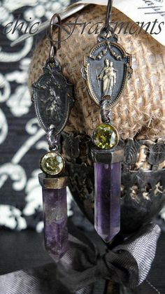 GRACE Antique French Religious Medal Earrings. Amethyst Gemstones  Peridot Long Prism Dangles. Sterling Silver. Antique Assemblage No.20