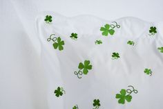 four leaf clover sweet shamrock spring greens from charmajesty.com bespoke linens at their finest