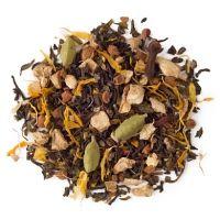 Kashmiri Chai - Green. Organic green tea, cinnamon, cardamom seeds, ginger, cardamom husk, clove buds, marigold flowers. Low caffeine.