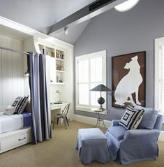 "benjamin moore river gorge gray | Walls painted in ""Storm"" by Benjamin Moore . Bed curtains: LuLuDK ..."