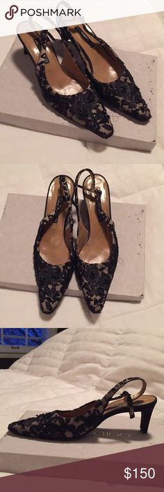 Statement Vintage Bruno Magli Kitten Heels gorgeous black beaded embroidery with a slingback strap. these shoes are guaranteed to make a statement and pair well with a simple black dress, skirt, pant, etc. true to size and gently used. Bruno Magli Shoes Heels