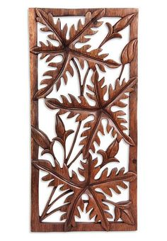 Wood Wall Art Panels leaf wood carved wall art hanging relief carving bali balinese