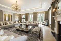 house for sale in Waverley Drive, Wentworth, Virginia Water, Surrey, - Classy Living Room, Big Living Rooms, Beautiful Living Rooms, Living Room Interior, Home Living Room, Living Room Designs, Living Room Decor, Huge Houses, Rich Home