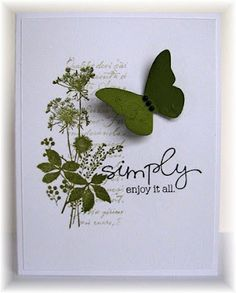 hand crafted card from Scrappin' and Stampin' in GJ ... collage stamping ... script and meadow flowers ... one layer ... white and old olive ... great card!