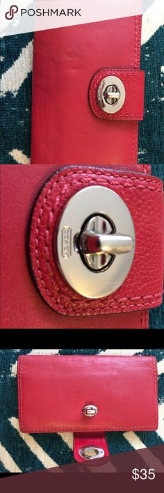 COACH WALLET Gorgeous, classic and versatile red COACH wallet. This wallet matches the rainbow, and can compliment a pattern as well. It has a silver closure, two spots for cash, multiple credit/debit/reward card slots and holds a drivers license feature. Coach Bags Wallets