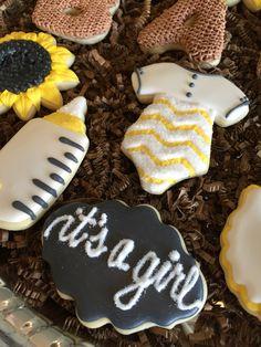 Sunflower burlap baby shower cookies