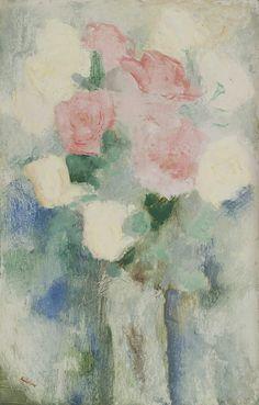 Antonius Bernardus 'Toon' Kelder (1894-1973) A still life with roses, oil on board 52.1 x 33.2 cm, signed lower left. Collection Simonis & Buunk, The Netherlands.