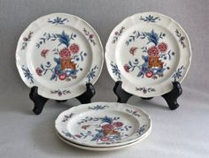 Wedgwood Williamsburg Potpourri Patterned Plate Set for 4 by PeriodElegance, www.PeriodElegance.etsy.com