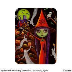 Spider Web Witch Big Eye Girl Owl Halloween Rectangular Photo Magnet