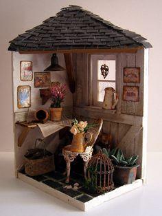 "Hand-made miniature scene 1:12 scale ""Fall colors"""