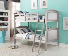 Modern meet Hollywood Glamour in the timeless design of our twin over twin princess bunk beds in a platinum silver finish with rich silk upholstery. This bunk bed will create a regal princess look in