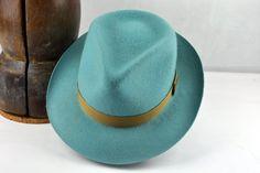 Aquamarine Fedora - Pure Wool Felt Handmade Teardrop Fedora Hat - Men Women