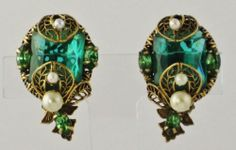 Vtg Ledo Polcini Emerald Open Back Rhinestones Pearls Earrings Gold | eBay